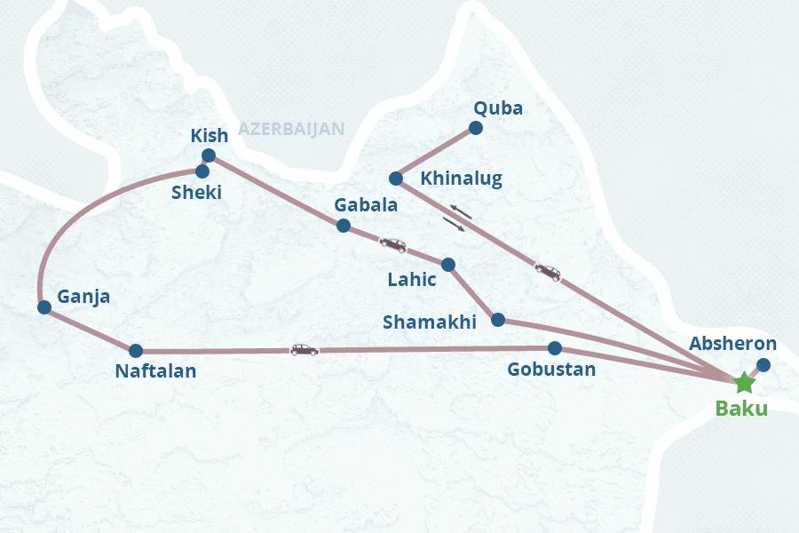 Mapa de 10 Dias no Azerbaijão