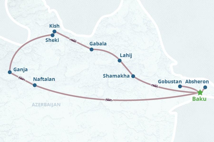 Mapa de 8 Dias no Azerbaijão